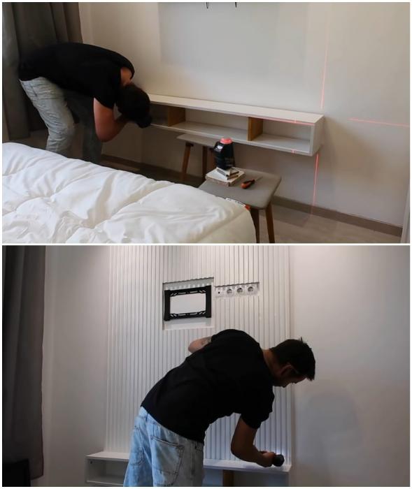 После того, как полка будет закреплена на стене можно вырезать отверстия под розетки и держатель для телевизора.