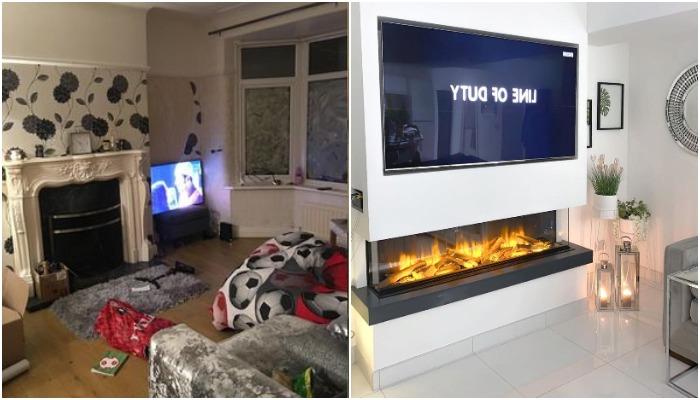 Вместо устаревшего камина появилась современная модель, да и телевизор расположен на самом видном месте (Ливерпуль, Великобритания).