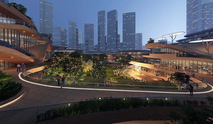 Необычные формы зданий позволяют создать внутренние дворики с садами и зонами отдыха на террасах (Shenzhen Terraces, Китай). | Фото: aasarchitecture.com.