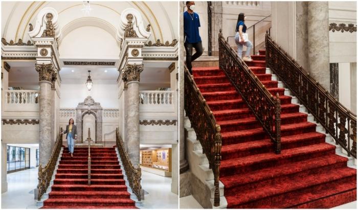Посетителей встречает монументальный вестибюль, вдохновленный Парижской оперой Шарля Гарнье (Apple Tower, Лос-Анджелес).