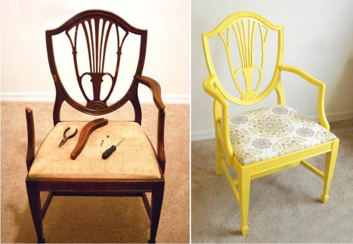 Любой бабушкин стул можно превратить в дизайнерский предмет мебели. | Фото: interdecor22.ru.