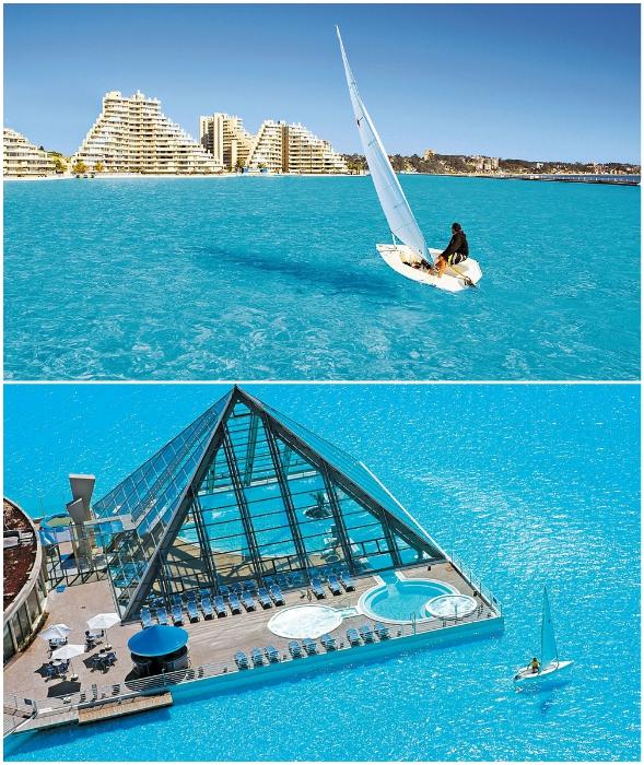 В гигантском бассейне можно даже пройтись под парусом (San Alfonso del Mar, Альгарробо).