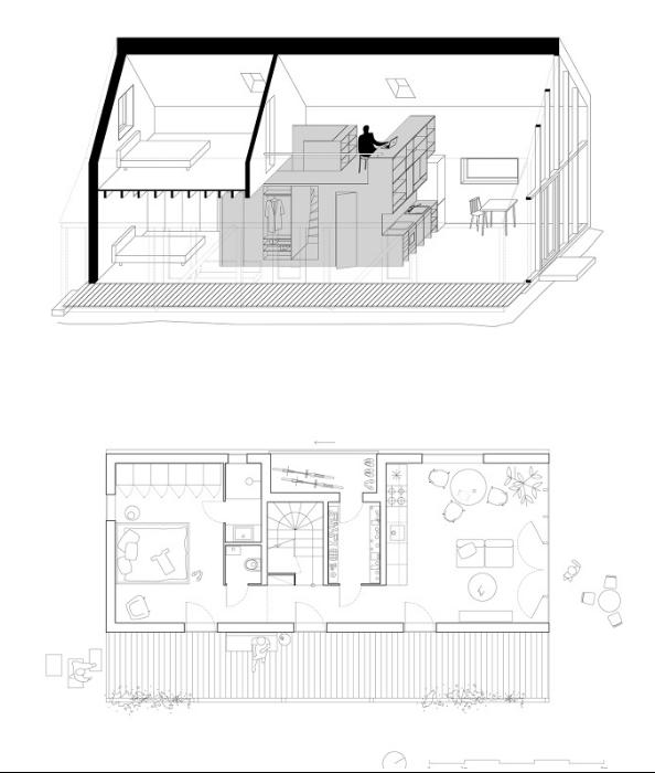 Планировка загородного дома IST от архитектурной студии JRKVC (Словакия).