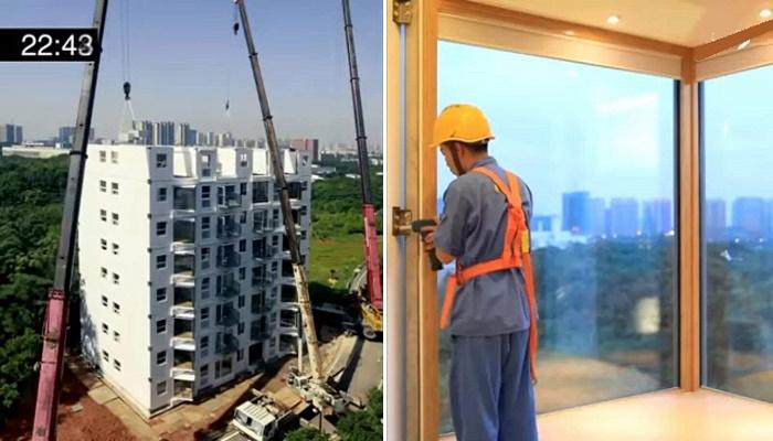 Параллельно с установкой и закреплением модулей шли доработки, при этом квартиры подключались к общедомовым коммуникациям (Чанша, Китай). | Фото: innovation.24tv.ua.