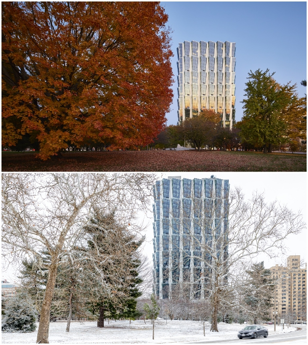 Фасад здания отражает переменчивую красоту окружающей природы (One Hundred tower, Сент-Луис).