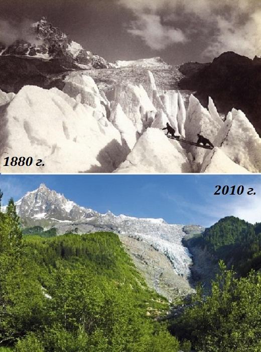 Глетчер Боссонс (Bossons) на северной стороне Монблана (Швейцарские Альпы, снимки 1880 и 2010 гг. | Фото: 4sport.ua.