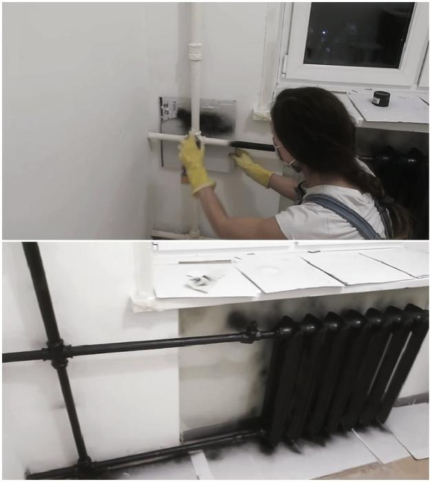 Кардинальная смена цветовой гаммы радиатора и труб отопления.