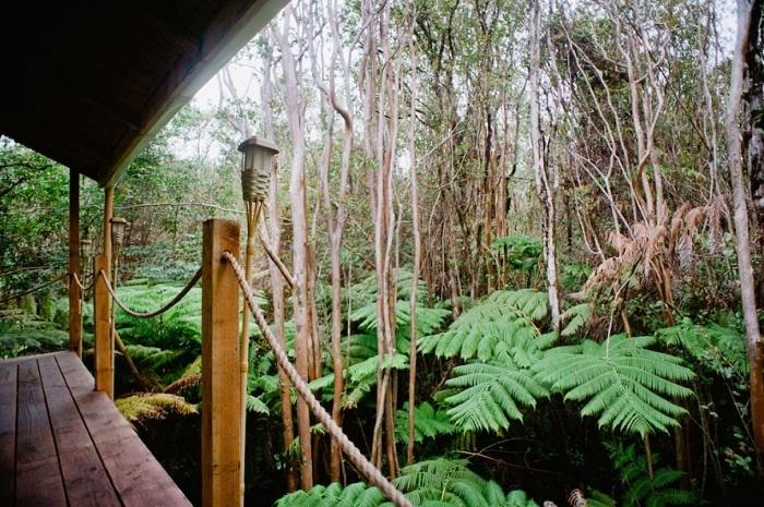 Прекрасная открытая терраса в домике на сваях (Гавайи).