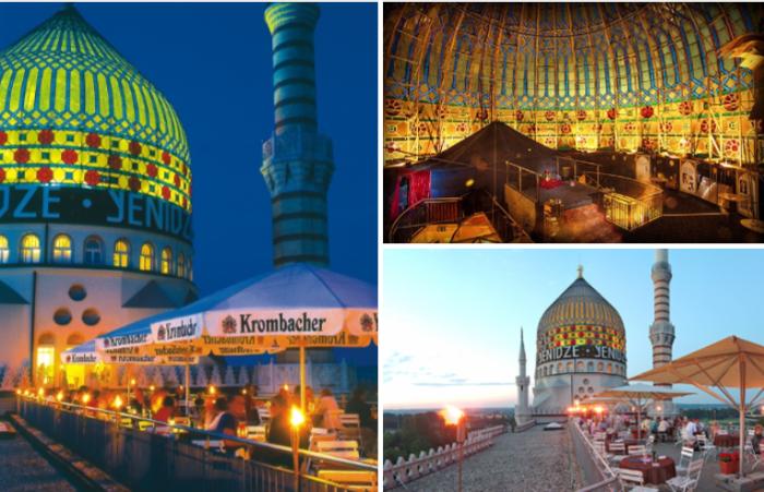 Теперь на месте столовой для работников фабрики открыли роскошный ресторан, с террасы которого открывается прекрасный панорамный вид (Yenidze, Дрезден). | Фото: yenidze.eu.