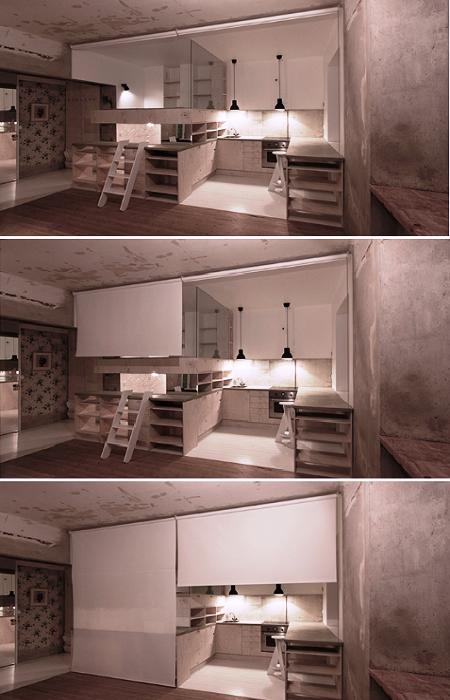 При желании зону кухни, спальни и гардеробную можно спрятать за рулонными шторами. | Фото: karinmatz.se.