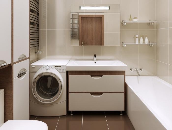 Стильное оформление маленького санузла, в котором установлена стиральная машинка.
