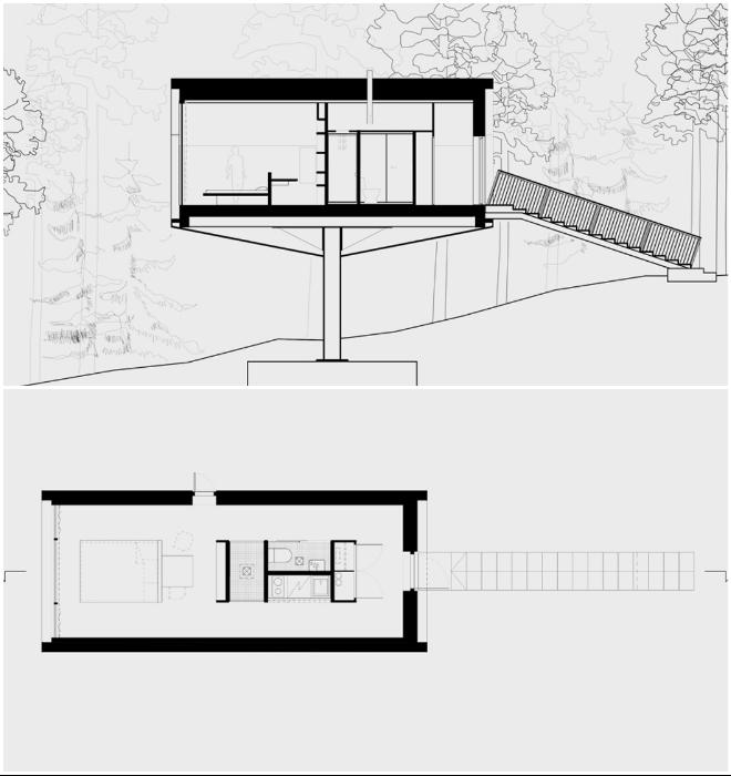 План-чертеж номера Niliaitta, созданного на горном склоне Кивиярви (проект Studio Puisto).