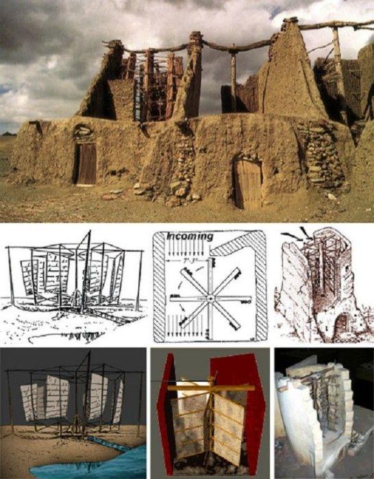 Принцип работы ветряных мельниц Ирана, примитивные механизмы которых работают уже полтора тысячелетия (Nashtifan). | Фото: pinterest.com.