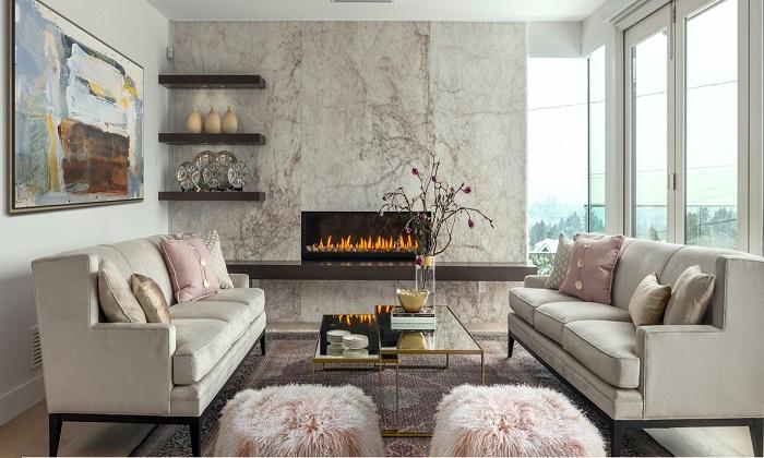 Мраморный рисунок всегда будет оригинальным украшением комнаты.