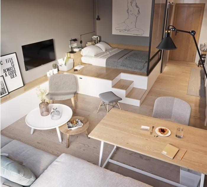 Даже самую маленькую квартиру-студию можно разделить с помощью подиума. | Фото: ivd.ru/ instagram, © dsgninterior.