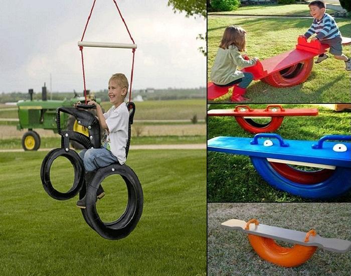 Как из автомобильных покрышек сделать необычные детские качели.