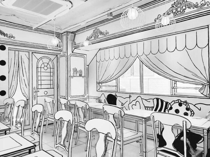 Кафе украшают плоские дизайнерские шторы («2D Cafe», Токио). | Фото: demilked.com.