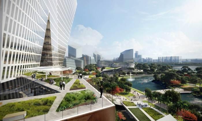 В Китае планируют построить футуристический «умный» город, в котором не будет автомобилей (концепт «Net City»). | Фото: eyeshenzhen.com/ © NBBJ.
