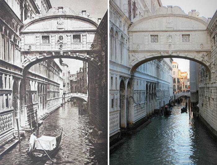 «Мост Вздохов» в Венеции, запечатленный фотокамерами Курта Хильшера и Каспера Моленаара в 1925 и 2018 гг. соответственно (Италия).  Фото: demilked.com.