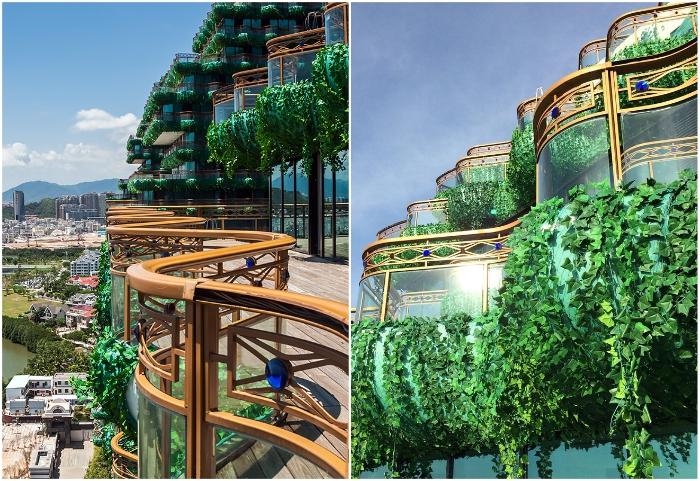 Общие террасы и балконы утопают в зелени (Sanya Beauty Crown Hotel Tower, Китай).