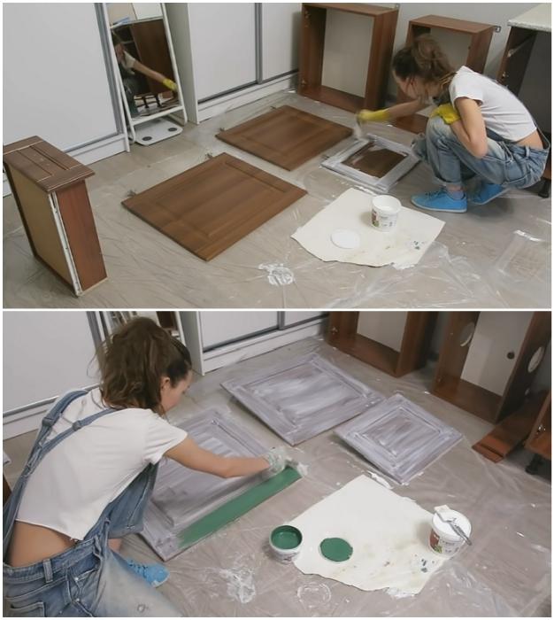 Поверхности мебельного гарнитура сначала нужно загрунтовать, а затем вскрывать краской нужного тона.