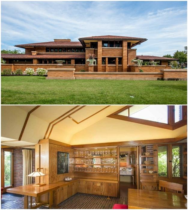 Фрэнк Райт предпочитал органичные фасады и открытую планировку.