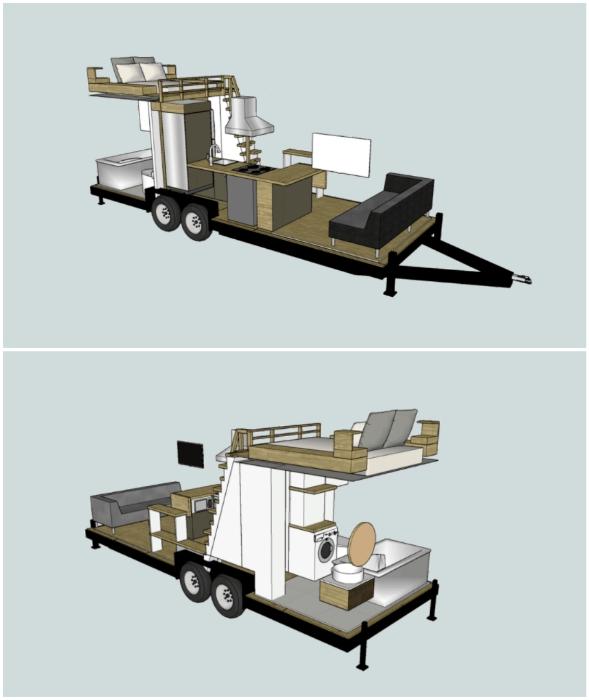 Цифровая модель дома, в котором удалось организовать полноценные жилые зоны (Fritz Tiny Homes).