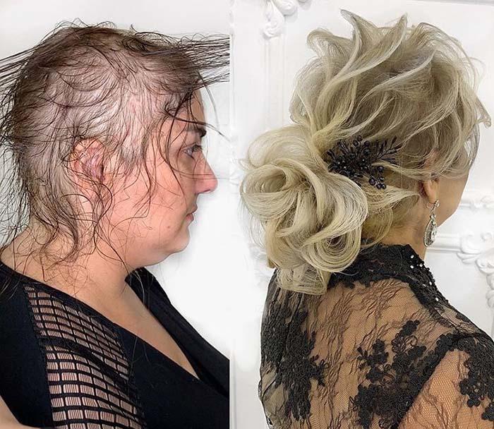 Чтобы придать объем редким волосам, пришлось использовать накладные локоны. | Фото: sm-news.ru.