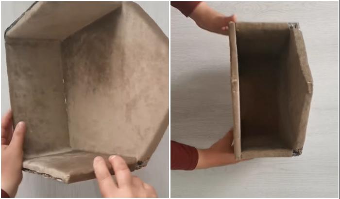 Внутреннюю часть домика лучше оклеить водонепроницаемой тканью.