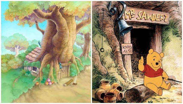 Так выглядит Винни-Пух и его домик в диснеевском мультфильме (Эшдаунский лес, Великобритания).