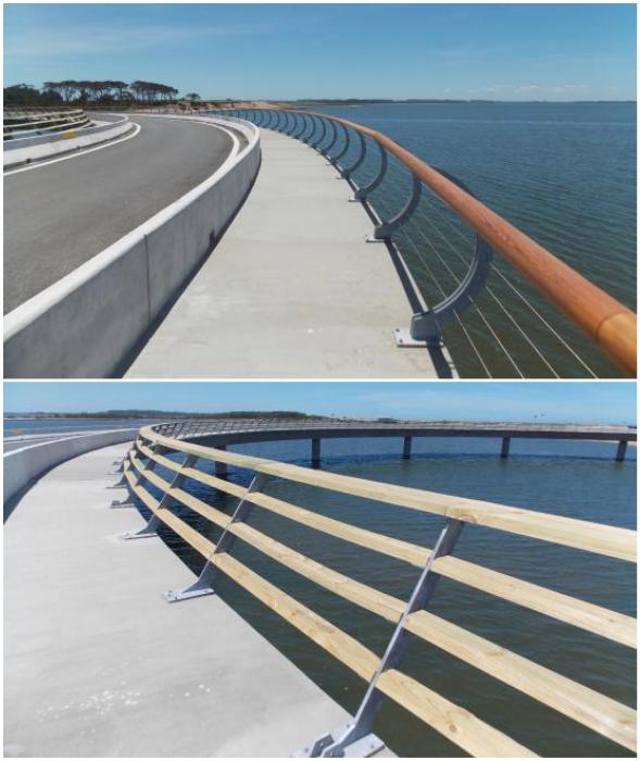 Для пешеходов созданы специальные дорожки как по внутренней стороне окружности моста, так и по внешней (Laguna Garzon Bridge, Уругвай).