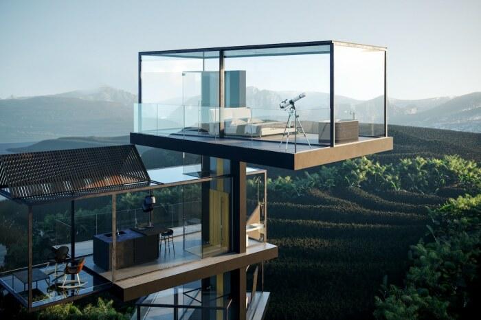 Самозакрывающиеся «умные» жалюзи Brise Soleil установят над каждой прозрачной зоной потолка (концепт House on the Rice Paddy). | Фото: mymodernmet.com.