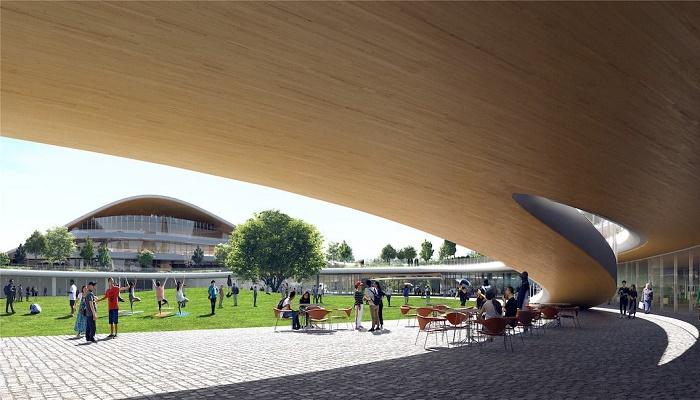 Благодаря полуоткрытости пространства размываются границы между парковой зоной и помещениями (концепт Jiaxing Civic Center).   Фото: mymodernmet.com.