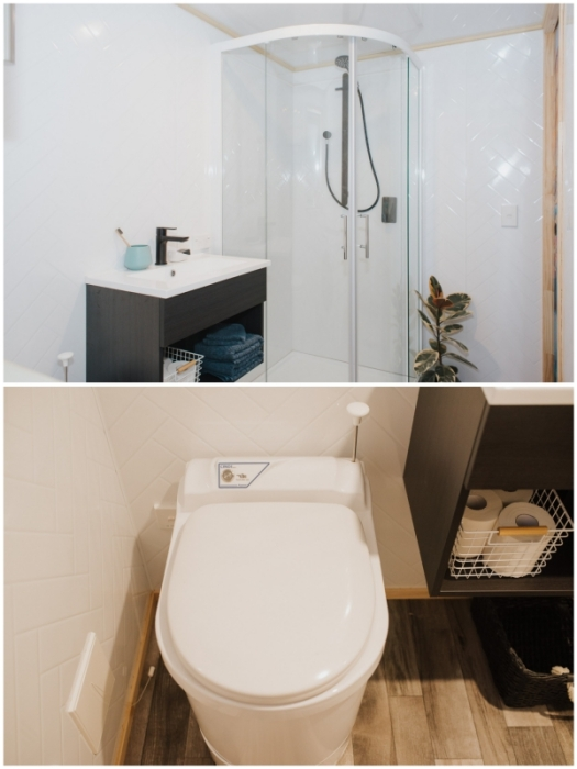Благоустроенная ванная комната упростит жизнь путешествующим и тем, кто решит перебраться в крошечный дом жить на постоянной основе (Autumn, Новая Зеландия).