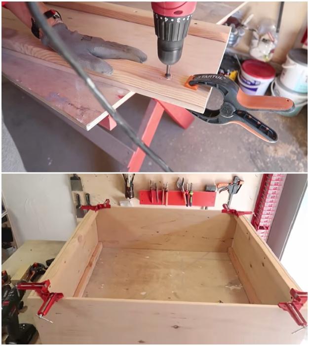 Процесс сборки каркаса кухонного шкафа. © Bubenitta.