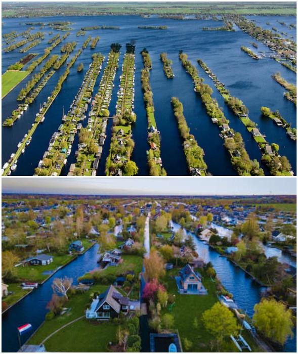 Грунтовые воды затопили углубления и в Нидерландах появилась собственная Венеция (Vinkeveense Plassen).