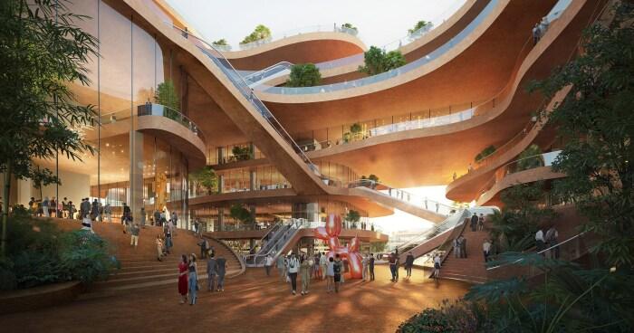 Большая часть зданий соединена между собой переходами и мостиками (Shenzhen Terraces, Китай). | Фото: mymodernmet.com.
