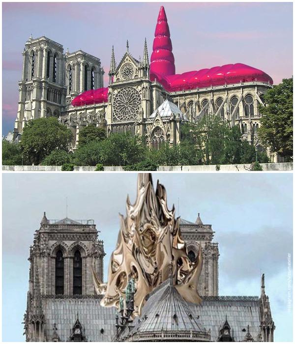 Эпатажные концептуальные проекты восстановления шпиля и крыши Собора Парижской Богоматери (Франция).