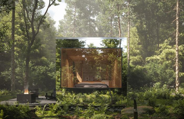 Двухместные лесные домики площадью 25,5 кв. м рассчитаны на воссоединение гостей с матушкой природы (Arcana, Канада).   Фото: surfacemag.com.