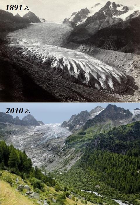 Глечтер Трифт (Trift-Gletscher) в кантоне Вале (Швейцарские Альпы, снимки 1891 и 2010 гг). | Фото: 4sport.ua.
