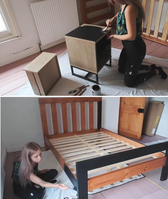 Чтобы мебель выглядела гармонично в обновленном интерьере, ее покрасили в черный цвет. | Фото: youtube.com/ LLimWalker.