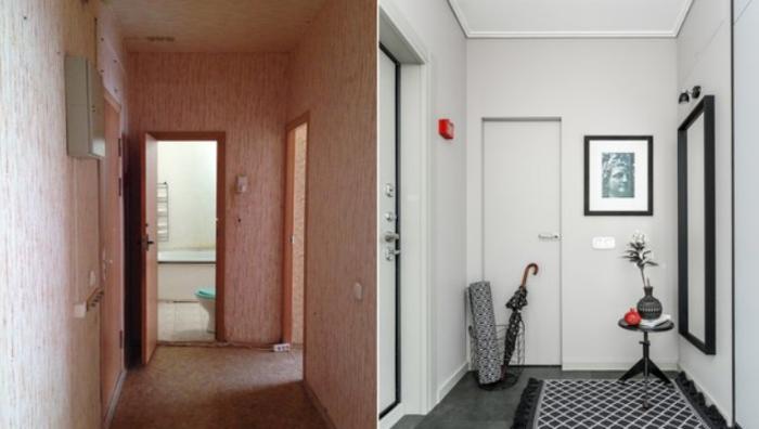 Перепланировка позволила более разумно расположить зоны и оформить стильную  прихожую. | Фото: inmyroom.ru.