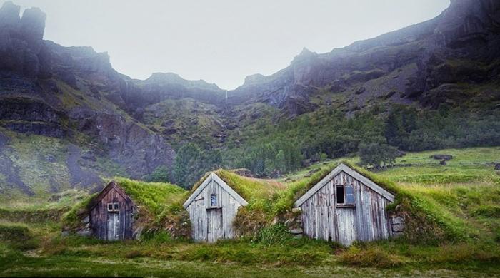 Традиционные исландские торфяные дома-землянки покрытые дерном. | Фото: boredpanda.com.