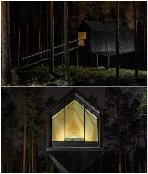 Лесная хижина выкрашена в черный цвет, чтобы с наступлением ночи «растаять» в темноте (Niliaitta, Финляндия).