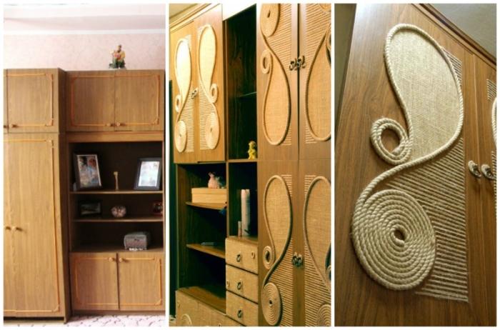 Даже обычный канат может выполнять особую декоративную функцию при обновлении фасада мебели. | Фото: fasaddomstroy.ru.