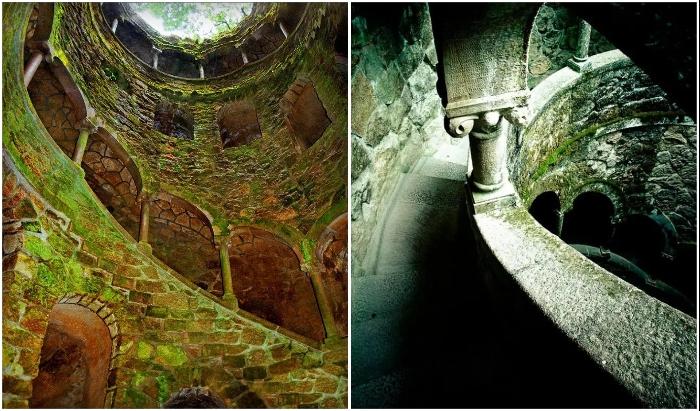 Винтовая лестница, с поросшими мхом колоннами и арками, символизирует 9 кругов ада, чистилища и ада (Quinta da Regaleira, Колодец Посвящения).