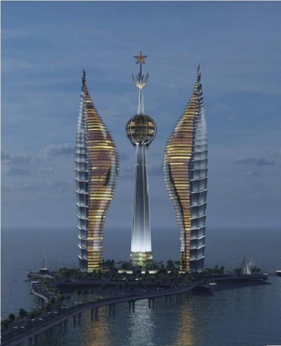 Со стороны города будут проложены мосты, чтобы разгрузить трафик портовой зоны (концепт Djibouti Towers). | Фото: wizhevsky.com.
