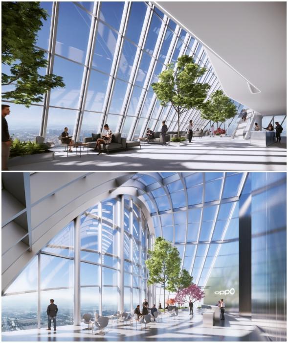 Ультрасовременное рабочее пространство ориентировано на открытую планировку офисной зоны (концепт O-Tower, BIG).