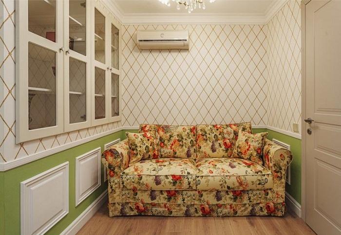 Гостиная, созданная в однокомнатной квартире.