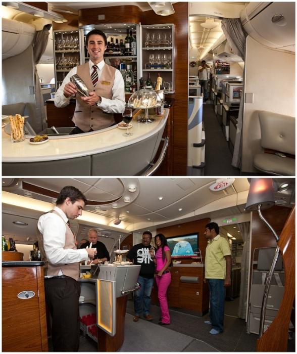 Самым приятным бонусом для пассажиров бизнес-класса стала зона отдыха с баром (Airbus А-380 Etihad).